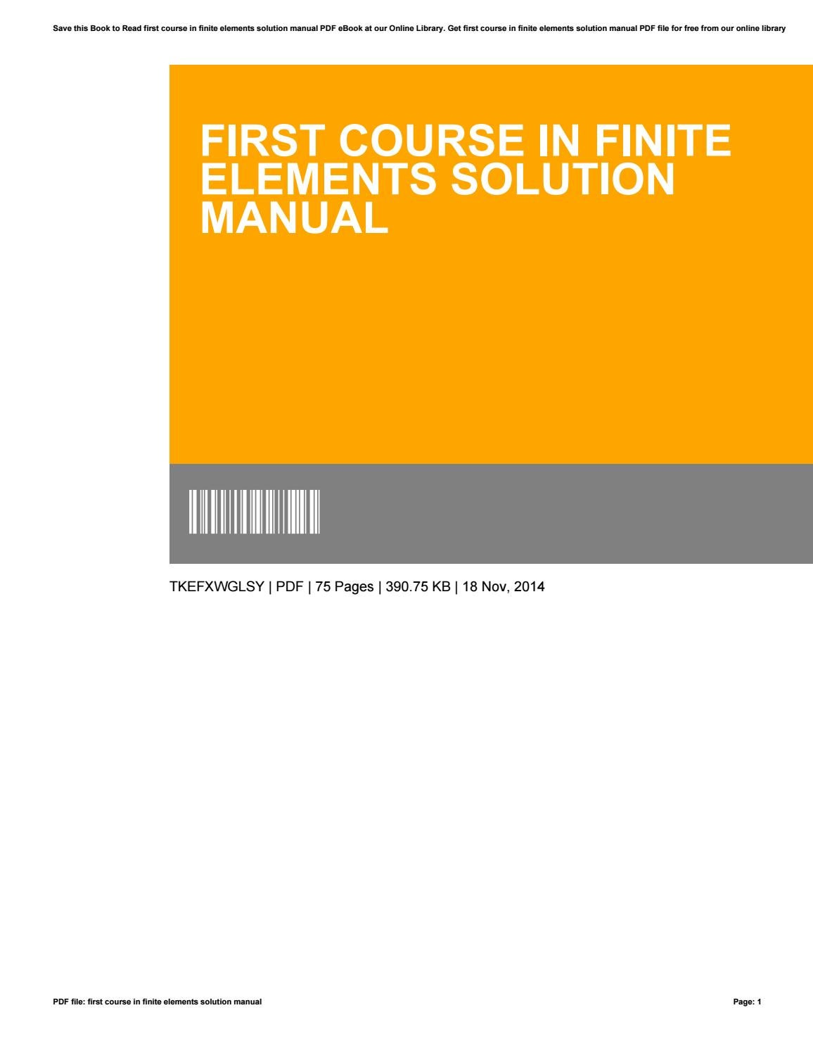 a first course in finite elements solution manual pdf